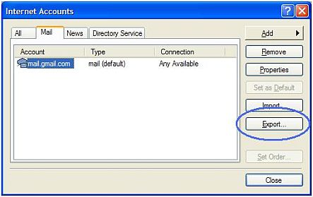 Export Outlook Express settings