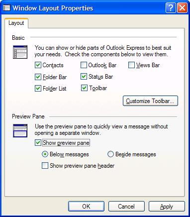 Outlook Express preview pane