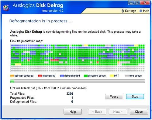 Disk defrag progress