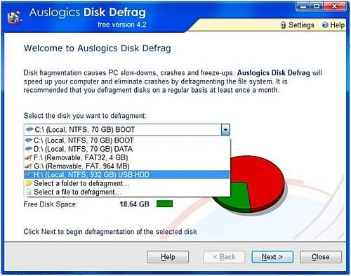 External disk defrag