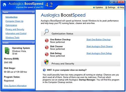 BoostSpeed main screen