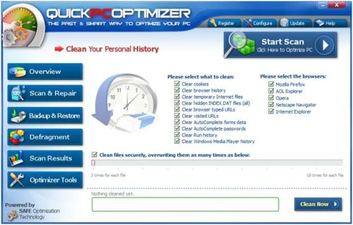 Clean personal history on computer