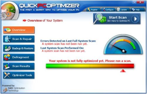 QuickPCOptimizer Main Window