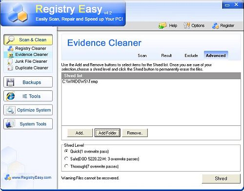 Registry Easy File Shredder