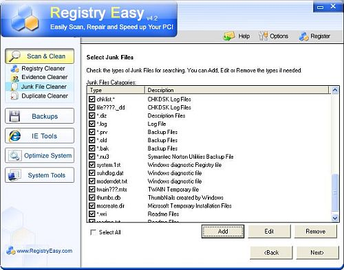 Registry Easy Junk File Cleaner