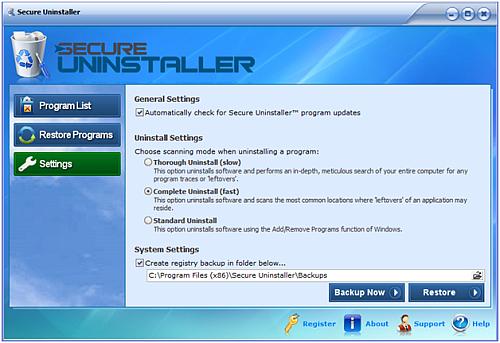 Secure uninstaller settings