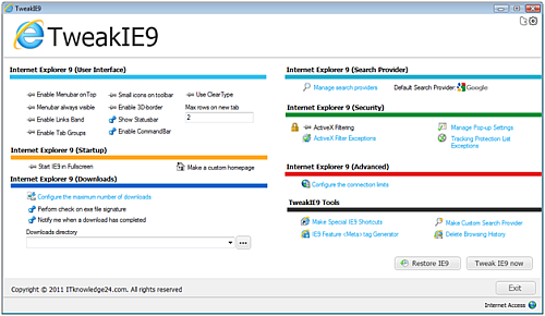 Tweak Internet Explorer 9 window