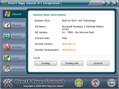 DirectX uninstall software