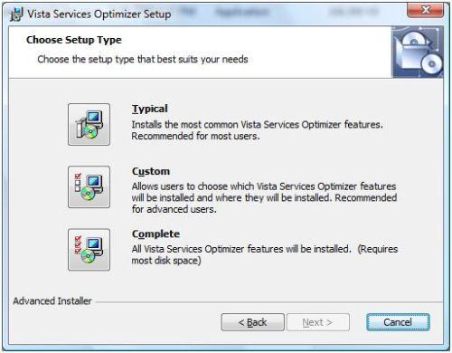 Install Vista Service Optimizer