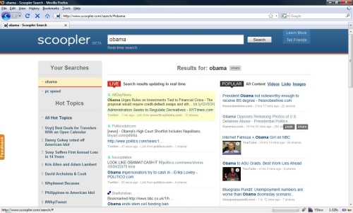 Scoopler real-time search