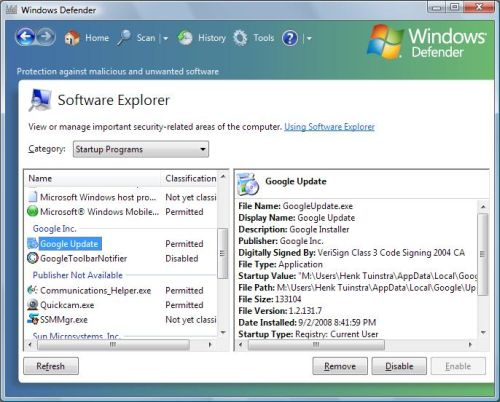 Windows Defender Software Explorer