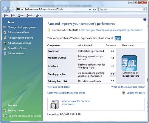 Vista Performance Information and Tools