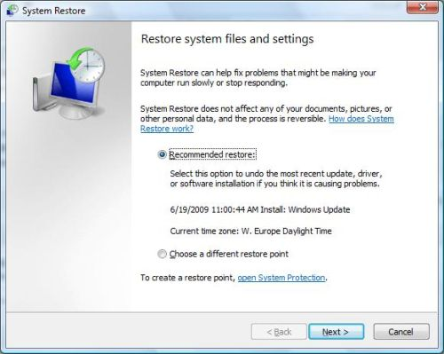 System Restore in Windows Vista
