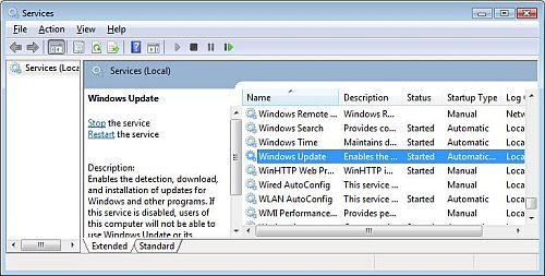 Windows Management Console - Services