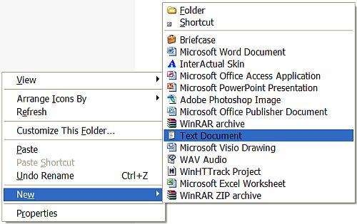Windows XP new menu