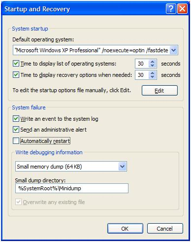 Disable automatic restart with BSOD